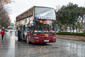 Sight seeing tourist bus istanbul turkey dec bigbus on sultanahmet square in winter in rainy weather the big sightseeing tour Stock Images