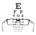 Sight test seen through eye glasses Royalty Free Stock Photo