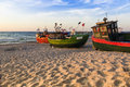 Sights of poland sunset at baltic sea with fishing boats Royalty Free Stock Photo