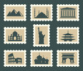 Sights set icons on postage stamps Royalty Free Stock Photo