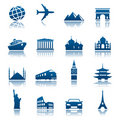 Sights & transportation icons Royalty Free Stock Photo