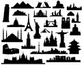 Sights of the world vector silhouettes attractions on a white background Stock Photo