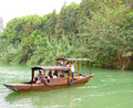 Sightseeing boat from ancient town boating on the lake inside wu zhen west gate scenic spot tongxiang city jiaxing city zhejiang Royalty Free Stock Photo