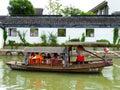 Sightseeing boat from ancient town boating on the lake inside xitang view jiashan county jiaxing city zhejiang province china Stock Photos