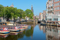 Sightseeing boats on a canal of Amsterdam Royalty Free Stock Image