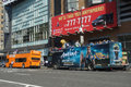 Sightseeing buses two on eighth avenue in manhattan Royalty Free Stock Images