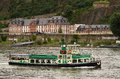 Sightseeing cruise koblenz on the rhine in germany and in the background the train station ehrenbreitstein Stock Images