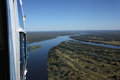 Sightseeing helicopter at zambezi river of victoria falls zimbabwe Royalty Free Stock Photography