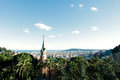 Sightseeing platform in barcelona great viewpoint sunny panoramic shot of from guell park Royalty Free Stock Photos