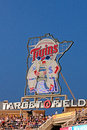 The sign above target field is home of minnesota twins it is located in downtown minneapolis it is franchise s sixth ballpark and Stock Photography