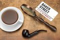 Sign BAKER STREET, Smoking Pipe, Magnifier On The OLD Map Royalty Free Stock Photo