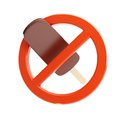 Sign ban on ice cream d illustrations on a white background Royalty Free Stock Photo