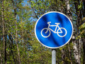 Sign of the bicycle path Royalty Free Stock Photo