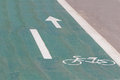 Sign on a bicycle path Royalty Free Stock Photo