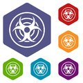 Sign of biological threat icons set hexagon