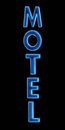 Sign Blue Neon Motel night isolated closeup Royalty Free Stock Photos