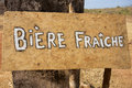 Sign board with fresh beer in french three at the entrance of the gouina community project mali Stock Photography