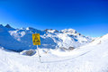 Sign board at High mountains under snow Royalty Free Stock Photos