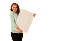 Sign board. Woman holding big white blank card. Positive emotion Royalty Free Stock Photo