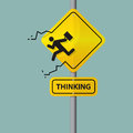 Sign of businessman icon who thinking out of the box. Pictogram on road sign. Royalty Free Stock Photo