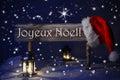 Sign Candlelight Santa Hat Joyeux Noel Means Merry Christmas