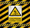 Sign caution blackboard caution slippery floor template Stock Photos