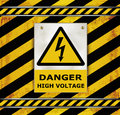 Sign caution blackboard danger high voltage template Royalty Free Stock Images