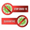 Sign caution STOP COVID-19 with Coronavirus icon