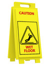 Sign caution wet floor on a white background Stock Photography