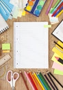 Sign copybook on a desk with pens and accessories to draw a Royalty Free Stock Photo