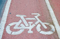 Sign of cycling road and markings symbol Stock Images