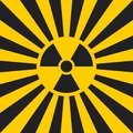 Sign dangerous Ionizing radiation pop art style, vector Ionizing radiation sign in yellow Hazard symbol background warning Royalty Free Stock Photo