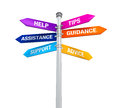 Sign directions support help tips advice guidance assistance isolated on white background d render Stock Images