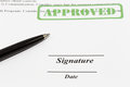 Sign document with black pen Royalty Free Stock Photo
