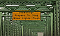 Sign Drawbridge on Green Metal Bridge Royalty Free Stock Photos