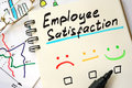 Sign employee satisfaction on a page. Royalty Free Stock Photo