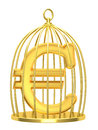 Sign euro in a cage on white background Stock Images