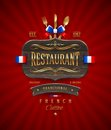 Sign of french restaurant with golden decor decorative vintage wooden and lettering Stock Photography