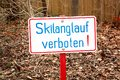 Sign with german words Cross-country skiing prohibited