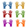 Sign on a hand colorful hands with mystic signs Stock Photography