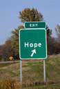 Sign of hope exit road to Stock Photography