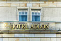 Sign of the Hotel Adlon in Berlin