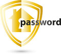 Sign with house and password, internet and security logo