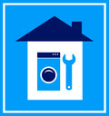 Sign with house wrench and washing mashine blue silhouette Royalty Free Stock Photography