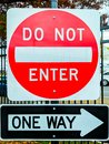 Sign indicating access restricted, no entry, one way road ahead, do not enter Royalty Free Stock Photo