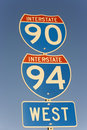 Sign of Interstate 90 and 94 Stock Image