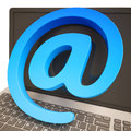 At Sign Keyboard Shows Online Mailing Communication Royalty Free Stock Photos