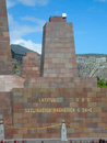 Sign of Latitude 0 at Middle of the world Monument in Quito Royalty Free Stock Photo