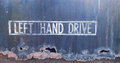 Sign left hand drive on trunk Stock Photo