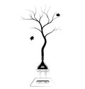 Sign or logo on ecology and forest conservation. Saving energy and resources. Black contour sign.